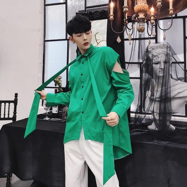 リボン付き デザインシャツ モード系 韓流 韓国 ファッション メンズ サロン系 原宿系 韓国系メンズ ボタンダウン  カットソー 長袖 メンズ スト|bigbangfellas|03