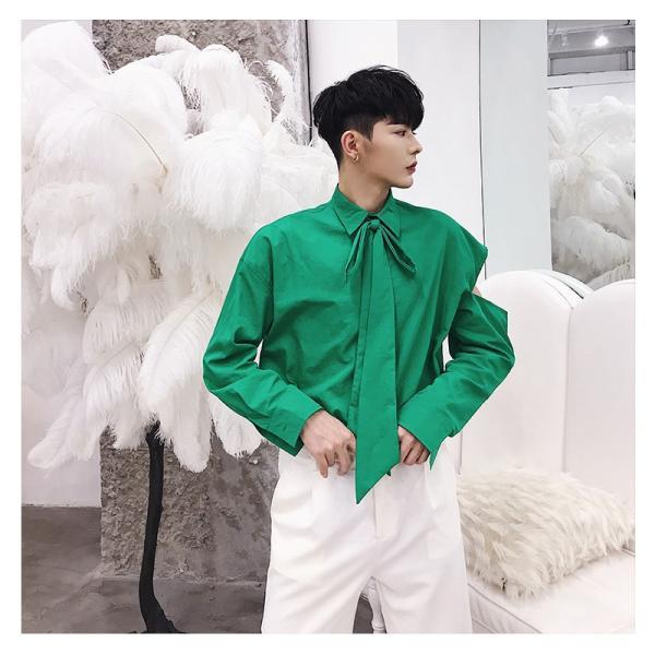 リボン付き デザインシャツ モード系 韓流 韓国 ファッション メンズ サロン系 原宿系 韓国系メンズ ボタンダウン  カットソー 長袖 メンズ スト|bigbangfellas|04