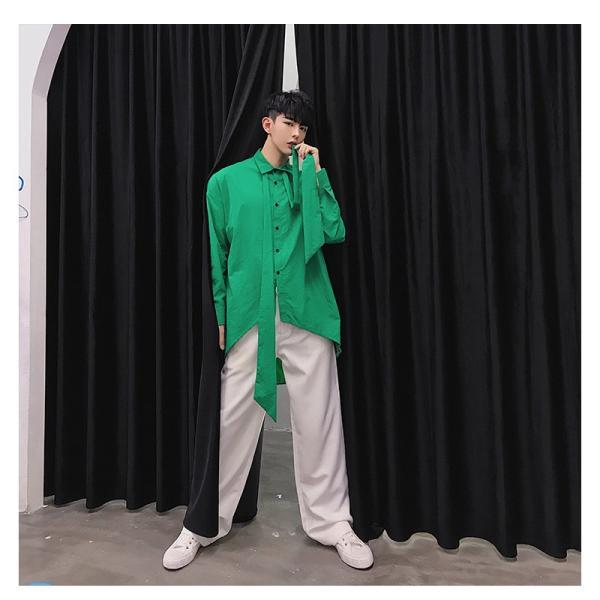 リボン付き デザインシャツ モード系 韓流 韓国 ファッション メンズ サロン系 原宿系 韓国系メンズ ボタンダウン  カットソー 長袖 メンズ スト|bigbangfellas|05
