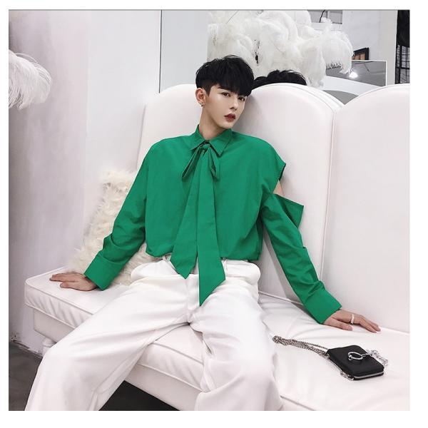 リボン付き デザインシャツ モード系 韓流 韓国 ファッション メンズ サロン系 原宿系 韓国系メンズ ボタンダウン  カットソー 長袖 メンズ スト|bigbangfellas|07