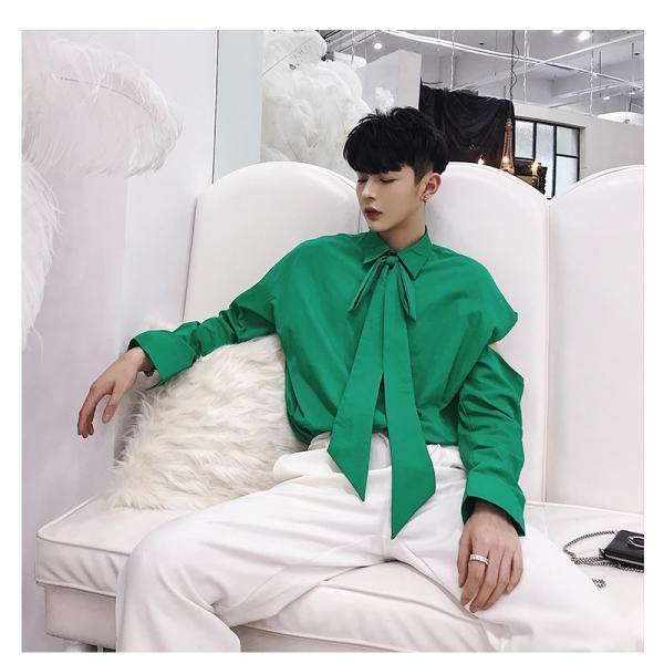 リボン付き デザインシャツ モード系 韓流 韓国 ファッション メンズ サロン系 原宿系 韓国系メンズ ボタンダウン  カットソー 長袖 メンズ スト|bigbangfellas|08