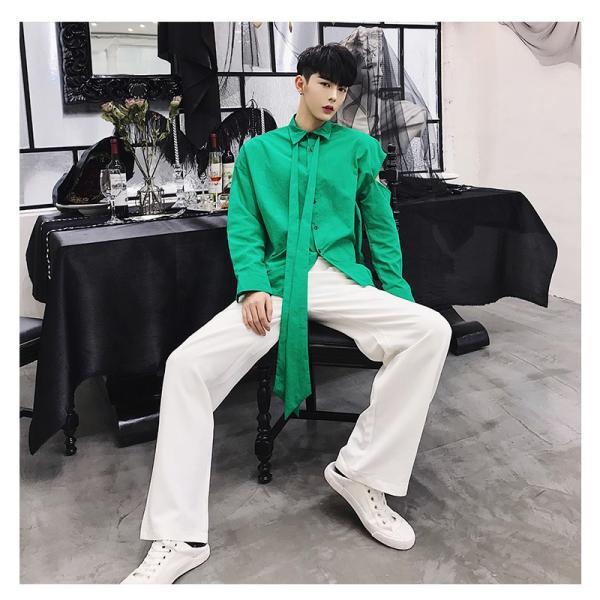リボン付き デザインシャツ モード系 韓流 韓国 ファッション メンズ サロン系 原宿系 韓国系メンズ ボタンダウン  カットソー 長袖 メンズ スト|bigbangfellas|09
