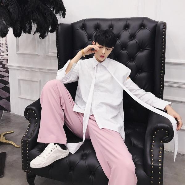 リボン付き デザインシャツ モード系 韓流 韓国 ファッション メンズ サロン系 原宿系 韓国系メンズ ボタンダウン  カットソー 長袖 メンズ スト|bigbangfellas|10
