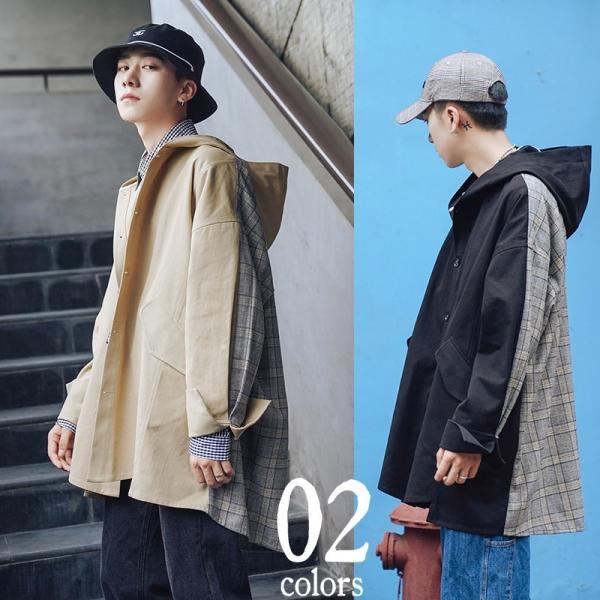 コート ジャケット チェック ビッグシルエット オーバーサイズ 大きいサイズ ロングスリーブ 長袖 メンズファッション  無地 韓流 韓国ファッション スト|bigbangfellas