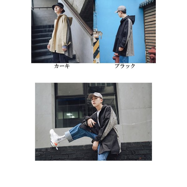 コート ジャケット チェック ビッグシルエット オーバーサイズ 大きいサイズ ロングスリーブ 長袖 メンズファッション  無地 韓流 韓国ファッション スト|bigbangfellas|02
