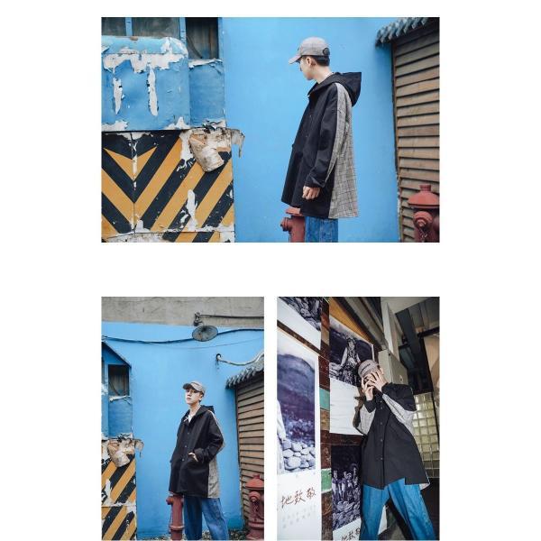コート ジャケット チェック ビッグシルエット オーバーサイズ 大きいサイズ ロングスリーブ 長袖 メンズファッション  無地 韓流 韓国ファッション スト|bigbangfellas|03