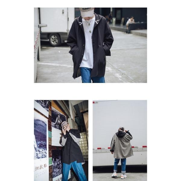 コート ジャケット チェック ビッグシルエット オーバーサイズ 大きいサイズ ロングスリーブ 長袖 メンズファッション  無地 韓流 韓国ファッション スト|bigbangfellas|04