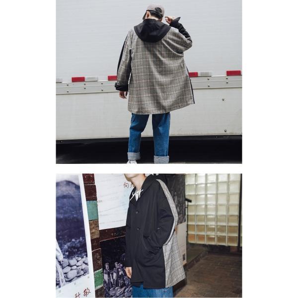 コート ジャケット チェック ビッグシルエット オーバーサイズ 大きいサイズ ロングスリーブ 長袖 メンズファッション  無地 韓流 韓国ファッション スト|bigbangfellas|05