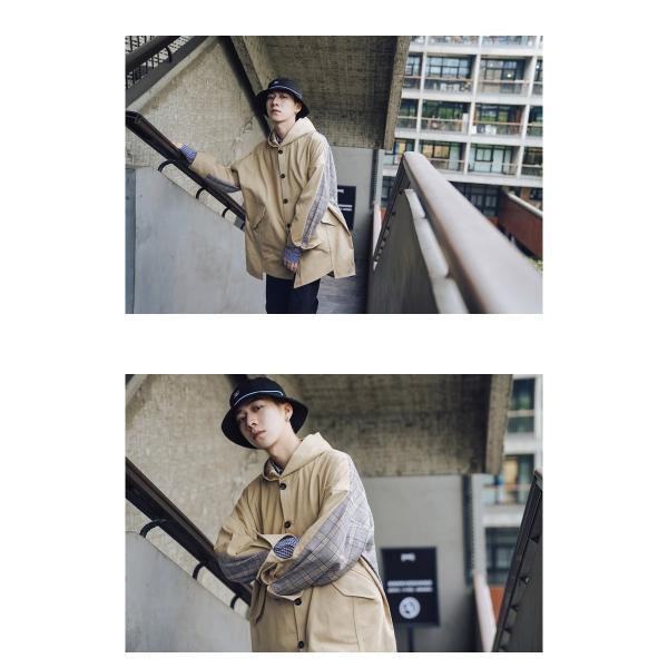 コート ジャケット チェック ビッグシルエット オーバーサイズ 大きいサイズ ロングスリーブ 長袖 メンズファッション  無地 韓流 韓国ファッション スト|bigbangfellas|07