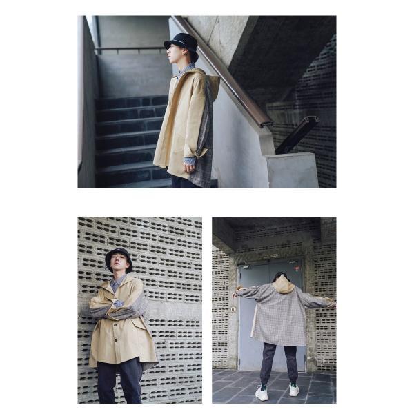 コート ジャケット チェック ビッグシルエット オーバーサイズ 大きいサイズ ロングスリーブ 長袖 メンズファッション  無地 韓流 韓国ファッション スト|bigbangfellas|08
