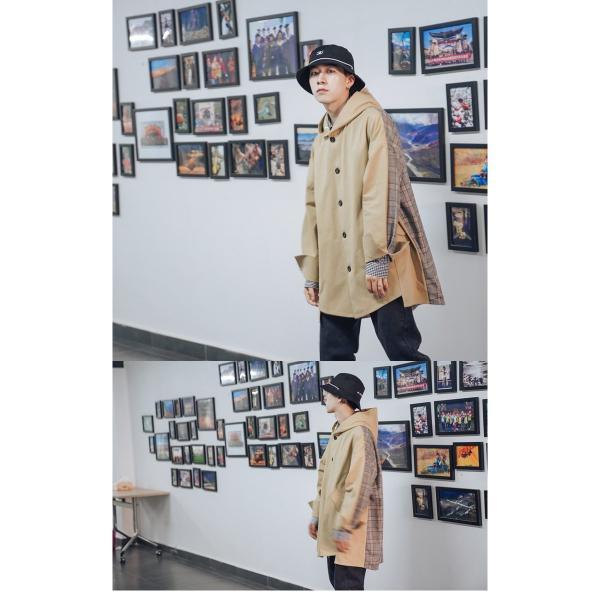 コート ジャケット チェック ビッグシルエット オーバーサイズ 大きいサイズ ロングスリーブ 長袖 メンズファッション  無地 韓流 韓国ファッション スト|bigbangfellas|09