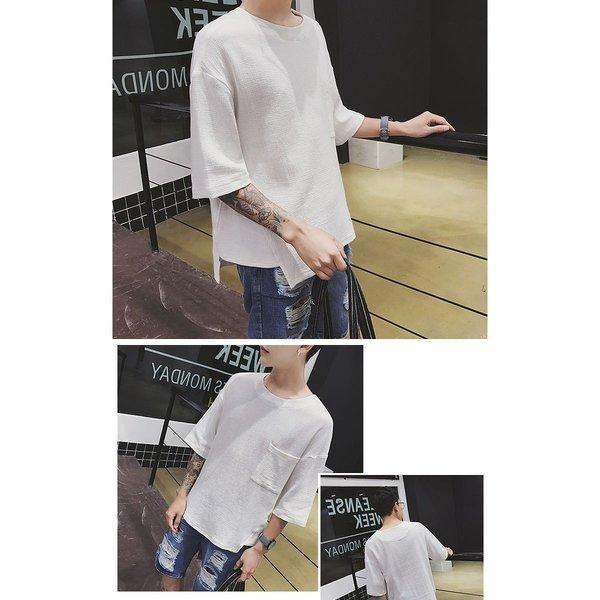 メンズ ビッグTシャツ ゆったり ポケット BIG TEE メンズファッション モード ストリート系 カジュアル サロン 春 夏 個性 無地 変わった|bigbangfellas|05