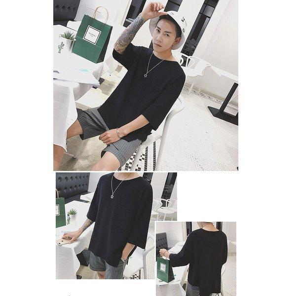 メンズ ビッグTシャツ ゆったり ポケット BIG TEE メンズファッション モード ストリート系 カジュアル サロン 春 夏 個性 無地 変わった|bigbangfellas|07