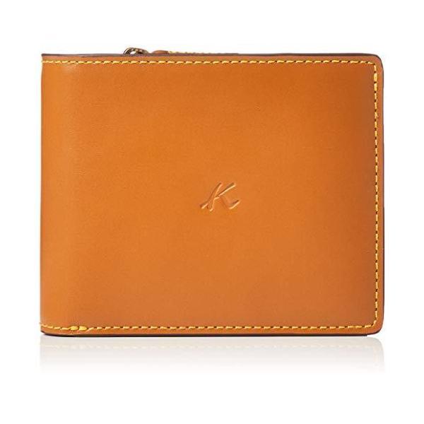 キタムラ二折財布ZH0379ブラウン/イエローステッチ茶色60401