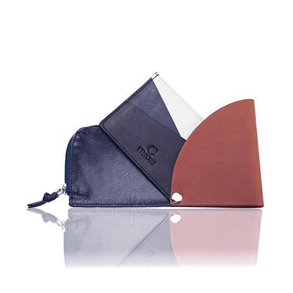 TRACUSカードケースメンズ薄型コインケース本革レザーL字ファスナーミニ財布(ブラウン×ネイビー)