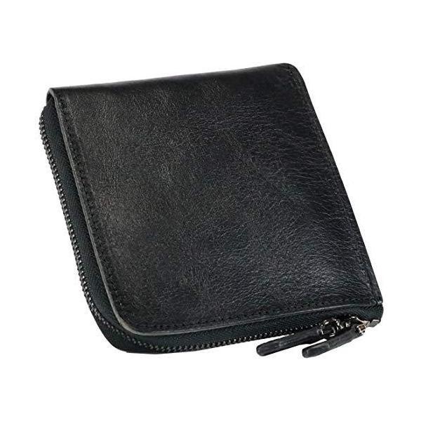 ブラックレザーl字ファスナーコインケースコンパクト小銭入れミニ財布メンズ財布本革薄型大容量ファスナーレディースサ