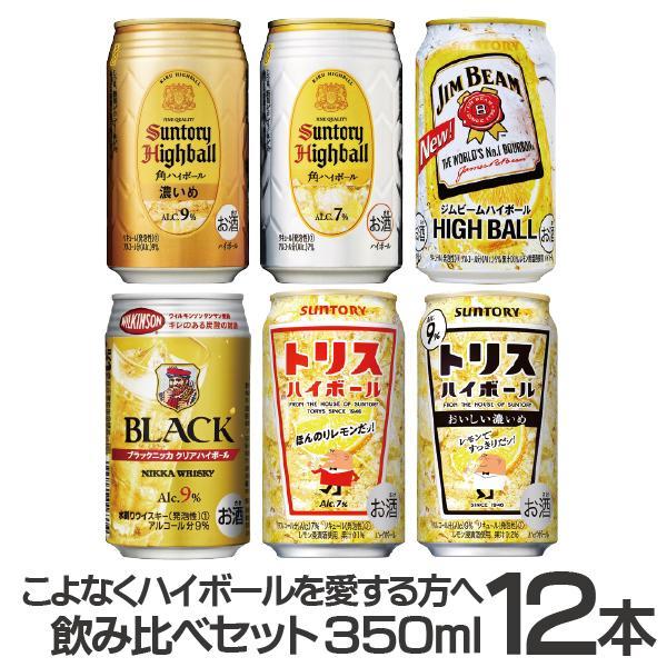 チューハイ ハイボール highball 飲み比べ 送料無料 こよなくハイボールを愛する方に捧ぐ350ml缶 6種×12本セット