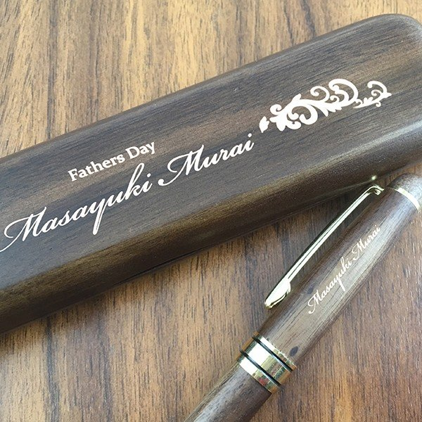 名入れ印刷 趣味に合わせた25種のデザインが選べるオリジナル木製名入れボールペン&ペンケースセット 茶(ウォールナット)|bigbossshibazaki|05