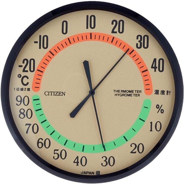 CITIZEN シチズン リズム時計 クロック 温湿度計 壁掛け 茶 ブラウン 9CZ013-006