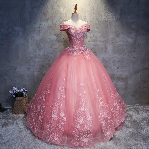 カラードレス 演奏会 安い ロングドレス コンサート パーティードレス 発表会 二次会 プリンセスライン 結婚式 ステージ衣装 ピンク bigchancenet