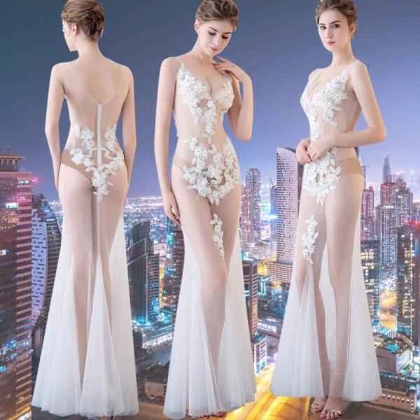 ロングドレス 演奏会ドレス パーティードレス ウェディングドレス 結婚式 二次会 花嫁ドレス 大きいサイズ カラードレス イブニングドレス お呼ばれ[ホワイト]|bigchancenet