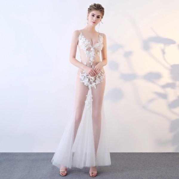 ロングドレス 演奏会ドレス パーティードレス ウェディングドレス 結婚式 二次会 花嫁ドレス 大きいサイズ カラードレス イブニングドレス お呼ばれ[ホワイト]|bigchancenet|02