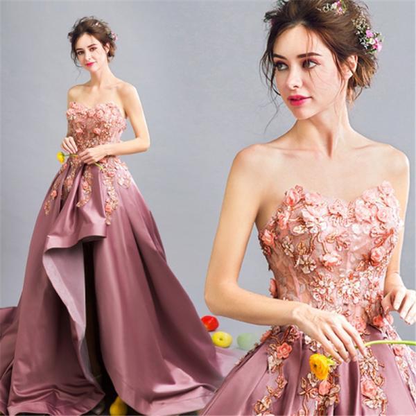 ロングドレス ウェディングドレス イブニングドレス 演奏会 カラードレス 大きいサイズ ドレス ロング 結婚式 お呼ばれ 大きい ピアノ ステージドレスピンク|bigchancenet