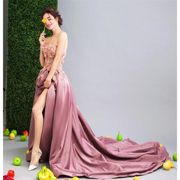 ロングドレス ウェディングドレス イブニングドレス 演奏会 カラードレス 大きいサイズ ドレス ロング 結婚式 お呼ばれ 大きい ピアノ ステージドレスピンク|bigchancenet|04
