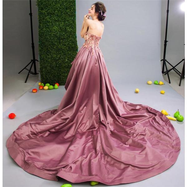 ロングドレス ウェディングドレス イブニングドレス 演奏会 カラードレス 大きいサイズ ドレス ロング 結婚式 お呼ばれ 大きい ピアノ ステージドレスピンク|bigchancenet|05