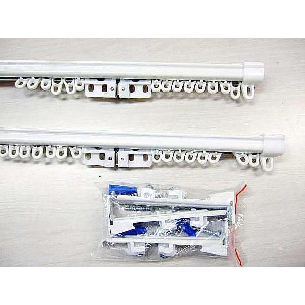 カーテンレール ダブル 角型 伸縮 サイズ1.6-3.0m プレーンホワイト|bigen|02