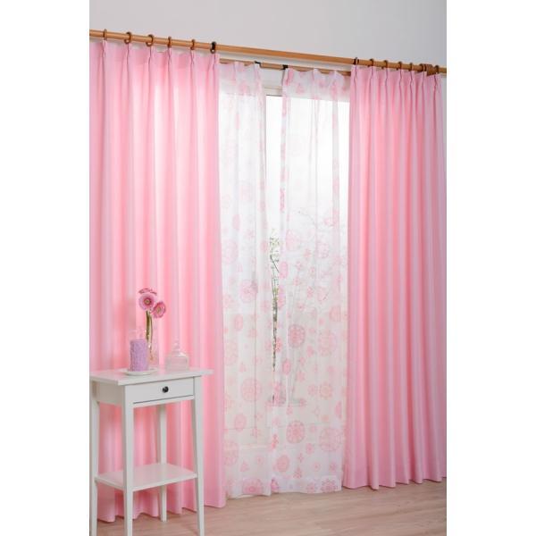 カーテン レースカーテン 4枚組 おしゃれ かわいい 花柄レースカーテン CHパッション (ピンク) 幅100cmx丈135cm|bigen|02