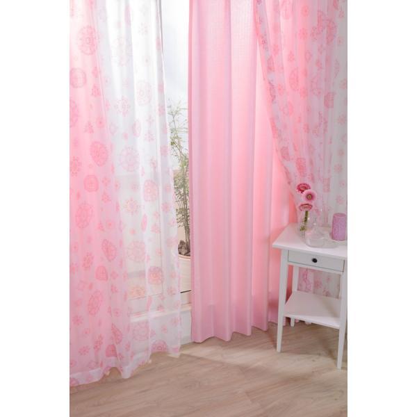 カーテン レースカーテン 4枚組 おしゃれ かわいい 花柄レースカーテン CHパッション (ピンク) 幅100cmx丈135cm|bigen|03