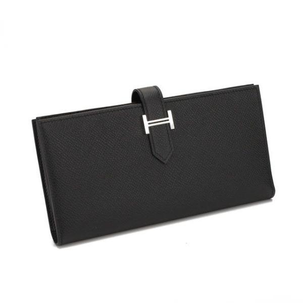 エルメスHERMES長財布二つ折りベアンスフレ039785CK-エプソン-NOIRブラック