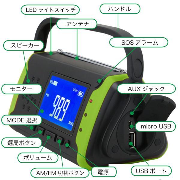 防災ラジオ スマホ充電 充電 多機能 手回し 手回し ソーラー 防水 ライト MBP-097 送料無料|bigpower|03