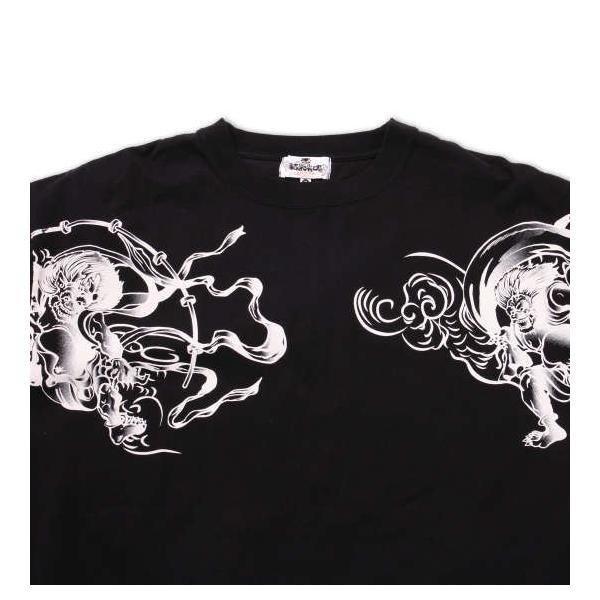 大きいサイズ メンズ 絡繰魂 風神雷神刺繍半袖Tシャツ 3L 4L 5L 6L 8L|bigsize-upstart|06
