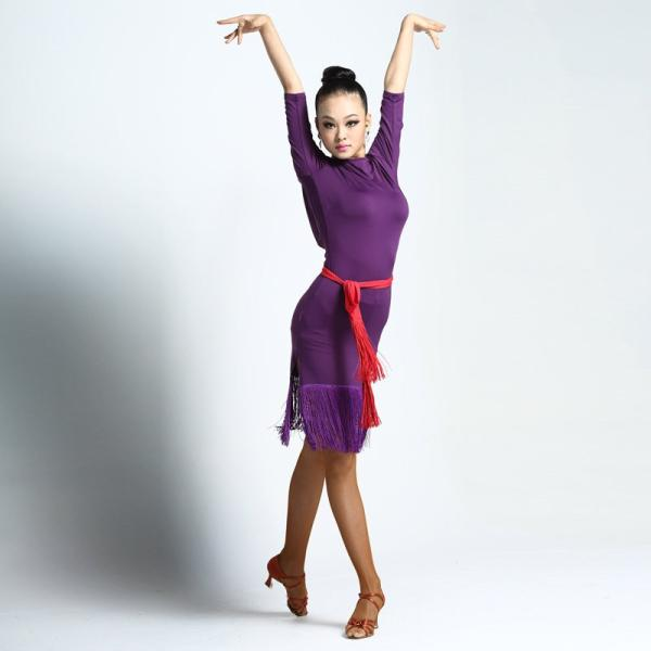 8770a822354f0 ... フリンジラテンダンス衣装 社交ダンス衣装 ワンピース 女性用 DANCE 練習着ダンスウェア ...