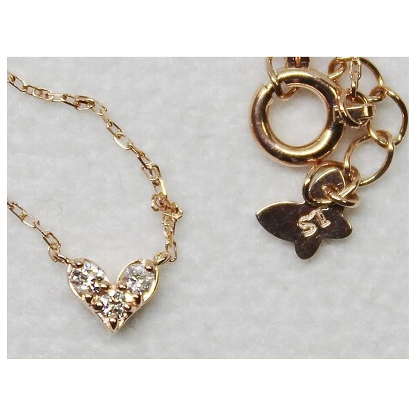 サマンサティアラ K10 ハート ダイヤ プチ ネックレス 0.05ct|bijou-shop
