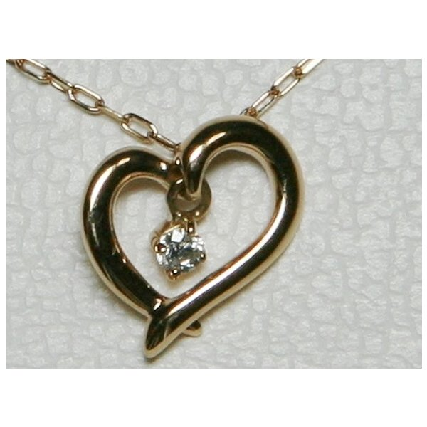 超美品 揺れる 4℃ ヨンドシー K18 PG オープンハート ダイヤ ネックレス bijou-shop