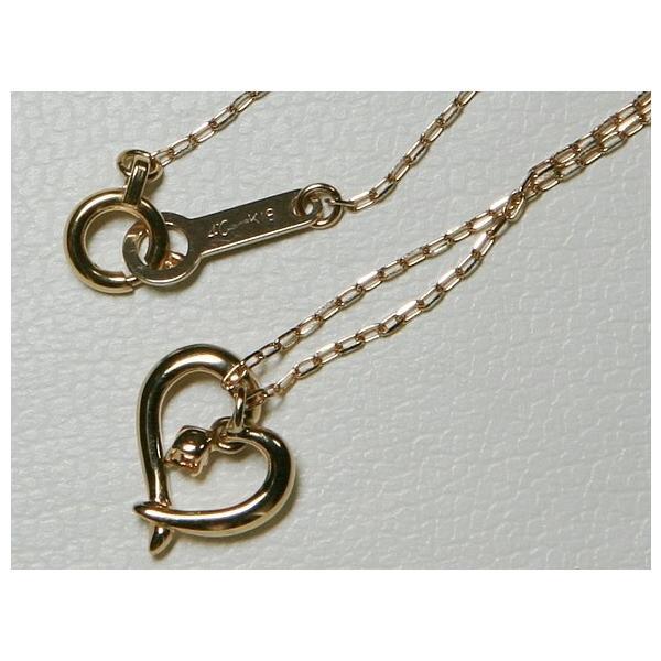 超美品 揺れる 4℃ ヨンドシー K18 PG オープンハート ダイヤ ネックレス bijou-shop 03