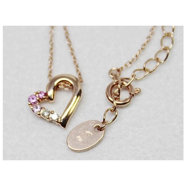 4℃ ヨンドシー K10 ハート ピンク サファイヤ ダイヤ ネックレス|bijou-shop