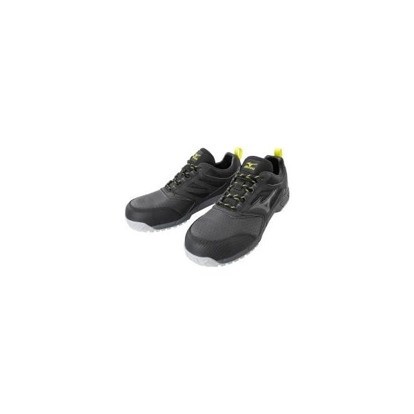 ミズノ F1GA2002 オールマイティ AS15L 作業靴 安全靴 ワーキングシューズ メンズ/レディース 静電気帯電防止 ブラック×ダークグレー 27.5cm