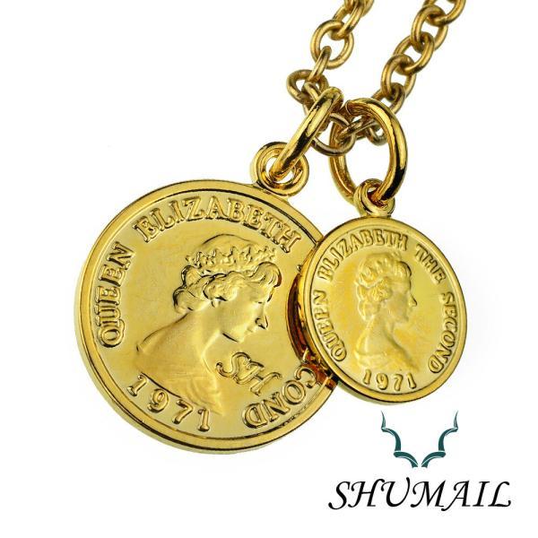 SHUMAIL(シュメール) ネックレス メンズ ダブル ゴールド コイン ペンダント シンプル ブランド ステンレススチール316L PVD アクセサリー ブラス