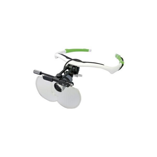 LED付プレートルーペNeoフレーム PL2+NSI3+NEO(チタンシルバ 耳パッド:グリーン