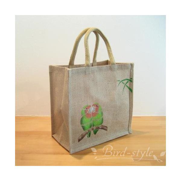 インコ 鳥柄 雑貨/コザクラインコのジュートバッグ
