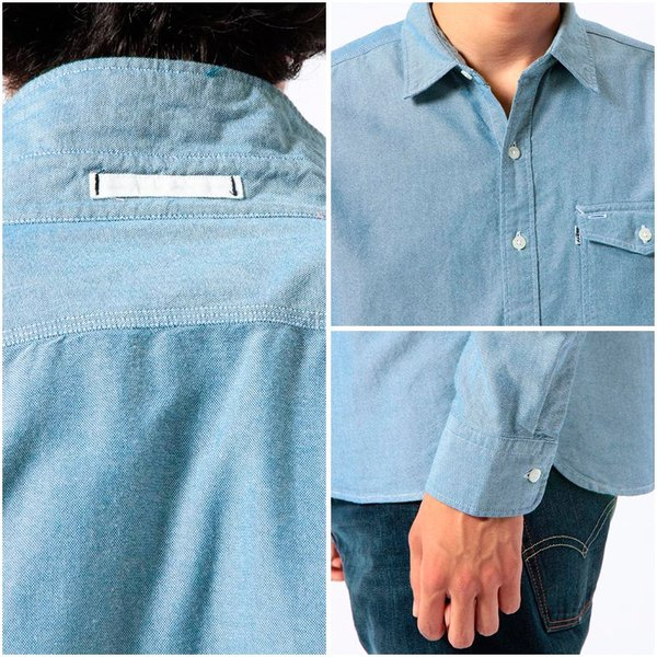 リーバイス Levi's 長袖シャツ ムジ OXシャツ 胸ポケット ワークシャツ メンズ レッドタブ LEVS 65820-0002 1パッチ&フラップポケットシャツ-オックスフォード|birigo|05
