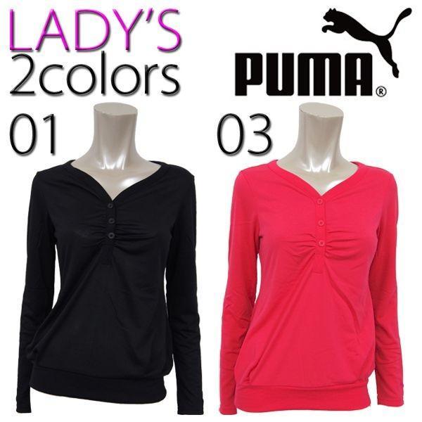 プーマ PUMA LADYS LSトップス 822745  レディース 長袖Tシャツ ヘンリーネック|birigo