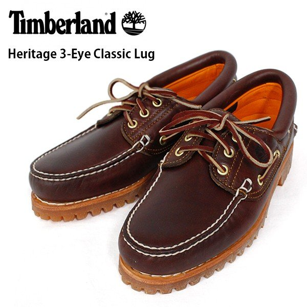 ティンバーランド メンズ シューズ デッキ モカシン 3アイレット クラシック ラグ ブラウン 靴 Timberland 30003 Heritage 3-Eye Classic Lug|birigo