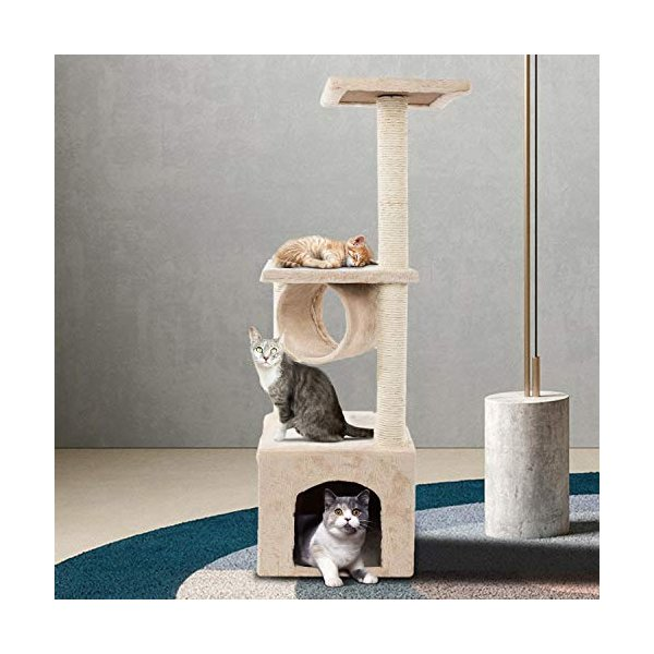 Bilidex Cat Tree House, 36 inches Soft Plush Cat Tower, Multi-Level Cat Condo, Stand House Furniture Kittens Activity Tower with Scratching Posts Kitt