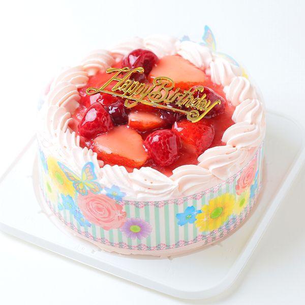 ケーキ スイーツ バースデーケーキ お誕生日ケーキ ピンク色の生クリーム苺味ケーキ5号