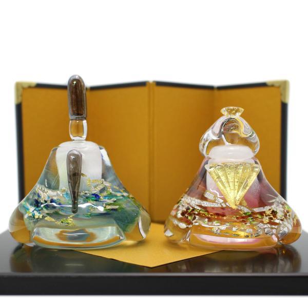 ガラスのお雛様 glass calico グラスキャリコ 華雛 ハンドメイド ガラスアート 雛人形 ひな人形 おひなさま 桃の節句 オブジェ コンパクト|bisyukiya